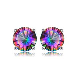 Rainbow Topaz Earrings Stud For Girls Genuine Pure Solid 925 Sterling Silver
