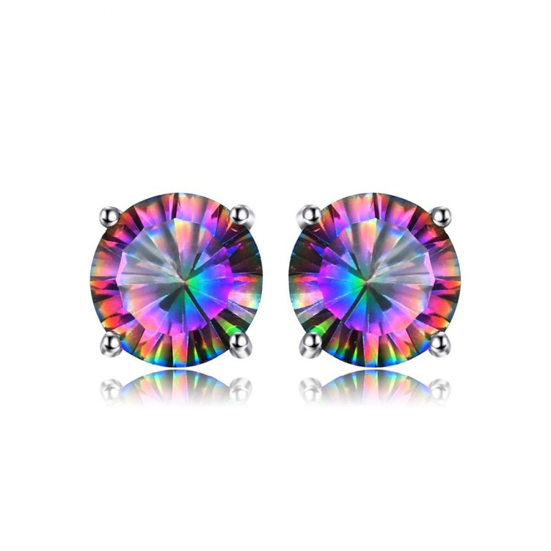 30fe212f3 Rainbow Topaz Earrings Stud For Girls Genuine Pure Solid 925 Sterling  Silver. Loading zoom