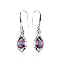Water Drop 6.8ct Genuine Rainbow Fire Mystic Topaz Dangle Earrings Pure 925 Sterling