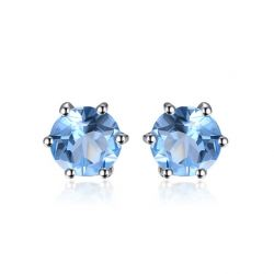 Natural Blue Topaz Earrings Stud Genuine 925 Sterling Silver