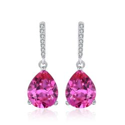 Luxury 7ct Created Pink Sapphire Drop Earrings 925 Sterling Silver