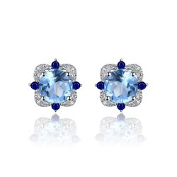 Stud Earrings 2.27ct Round Natural Sky Blue Topaz Inlay Sapphire
