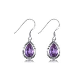 Pear Shape 15ct Lab Created Alexandrite Sapphire Dangle Earrings For Woman