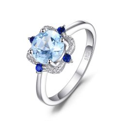 1.8ct Round Natural Sky Blue Topaz Sapphire Anniversary Fine Ring