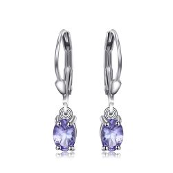 1.0ct Natural Tanzanite LeverBack Earrings Genuine 925 Sterling Silver
