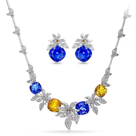 Luxury Silver Color Jewelry Sets for Women Crystals Flower Chain Necklace Earrings Set