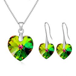 Crystals from Swarovski Heart Pendant Necklaces Drop Earrings Jewelry Sets For Women Lovers Gift