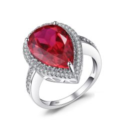 Luxury Pear Cut Created Red Ruby Solid 925 Sterling Silver Engagement Ring