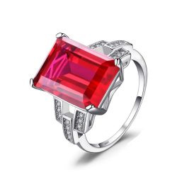 Luxury Emerald Cut 9.2ct Created Red Ruby Cocktail Ring 925 Sterling Silver