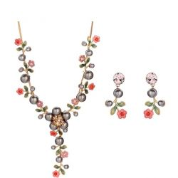 Rhinestone Simulated Flower Pearl Wedding Bridal Jewelry Sets