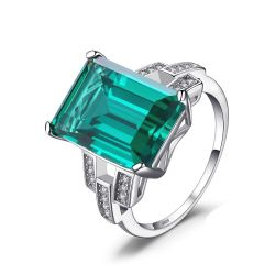 Luxury 5.9ct Created Emerald Cocktail Ring Genuine 925 Sterling Silver Jewelry