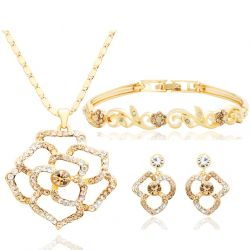 MADE WITH SWAROVSKI ELEMENTS Rhinestone Gold Plated Wedding Flower Jewelry Set