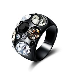 Multicolor Rhinestones Paved Black Gun Color Ring for Women