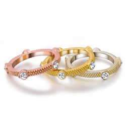 Mixed-color Triple Stack Rings for Woman Rhinestone 3 Colors