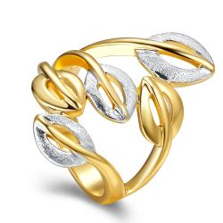 Gold/Silver Color Cocktail Party Wide Rings for Woman Double Colors Leaf Hollow Out