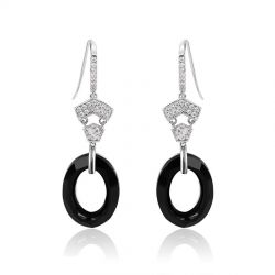Round shape Rhodium plated 2018 Crystals from Swarovski Drop Earrings