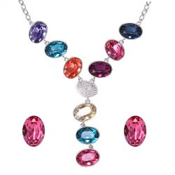 Luxury Big Multicolor Crystals from Swarovski ®  Jewelry set for Women