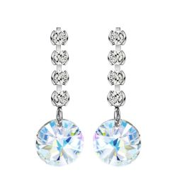 Austria Crystal & Zircon & S925 Silver Plated Drop Earrings