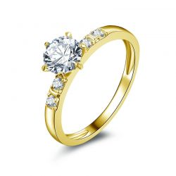 10k Solid Yellow Real Gold  0.8 ct Round Cut SONA Diamond  Wedding Ring for Women