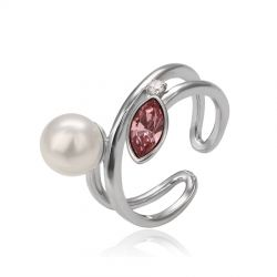 Crystals from Swarovski adjustable simulated pearl finger rings