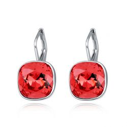 Bella Piercing Earrings Square Shape Made with  Crystals from Swarovski