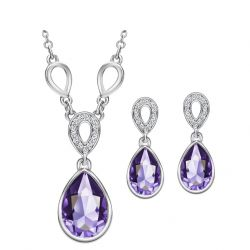 Platinum Plated Austrian Crystal Waterdrop Fashion  Jewelry Sets