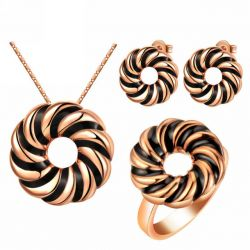 Rose gold plated Black Tones Jewelry Set Ring Earrings Pendant & Chain for Women